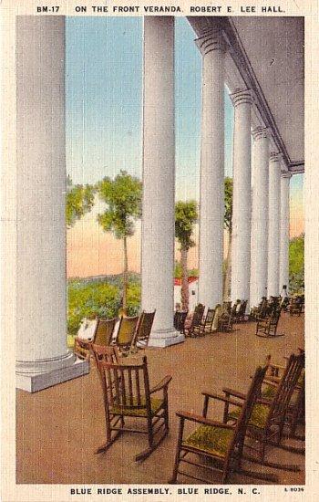 Front Veranda of Robert E Lee Hall, Blue Ridge North Carolina NC Linen Postcard - 2496
