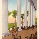 Front Veranda of Robert E Lee Hall, Blue Ridge North Carolina NC Linen Postcard - 2496