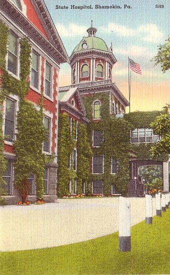 State Hospital in Shamokin Pennsylvania PA, Linen Postcard - 2576