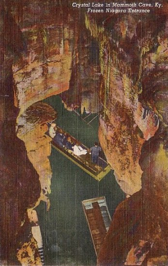 Crystal Lake at Mammoth Cave in Kentucky KY, Curt Teich Postcard - 2609