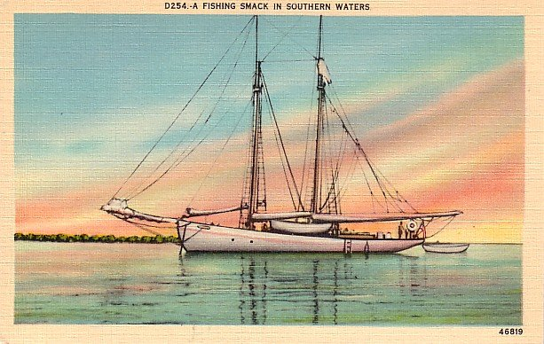 Fishing Smack in Southern United States Waters Mid Century Linen Postcard - 2610