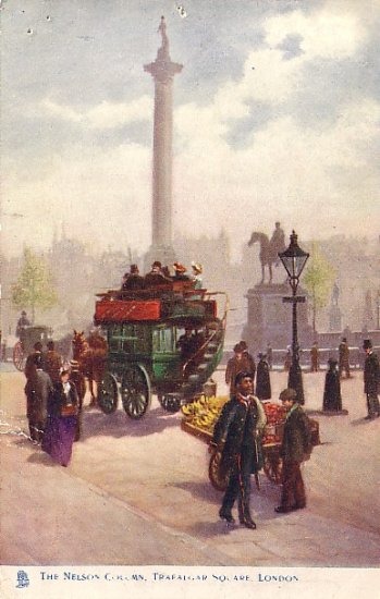 The Nelson Column at Trafalgar Square in London UK Raphael Tuck & Sons Postcard - 2616