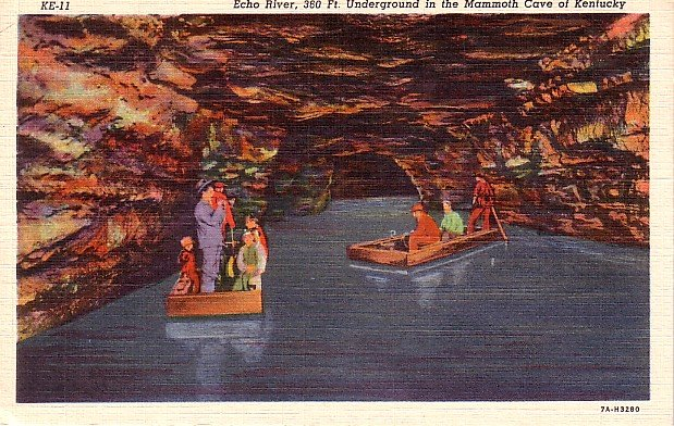 Echo River in Mammoth Cave, Kentucky KY, 1937 Curt Teich Linen Postcard - 2624