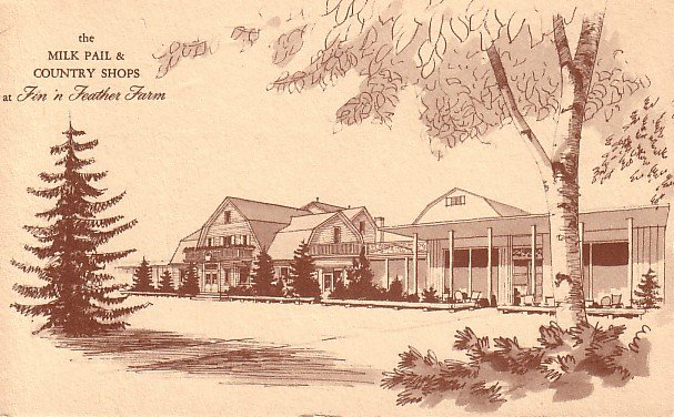 Milk Pail & Country Shops at Fin n Feather Farm in Dundee Illinois IL, Postcard