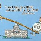 Ronald Reagan vs Tip O'Neill Political Chrome Postcard by Art Strader - 2638