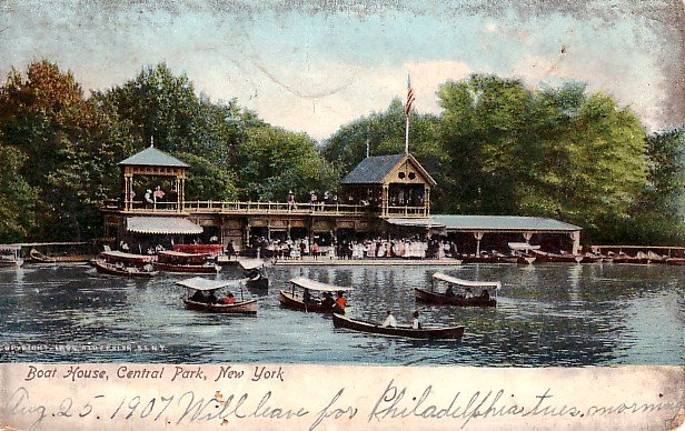 Central Park Boat House in New York City NY, 1907 Vintage Postcard - 2641