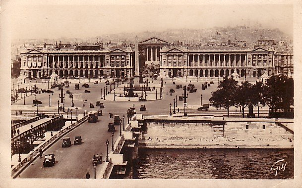 Pont et Place de la Concorde in Paris France, Real Photo Post Card - 2647