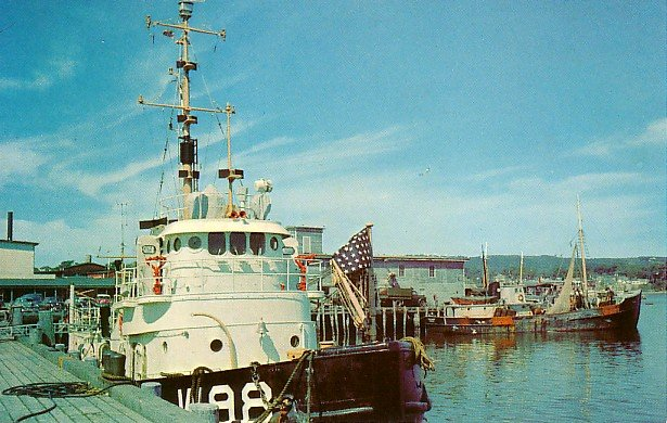 Coast Guard Boat in Rockland Maine ME, Chrome Postcard - 2648