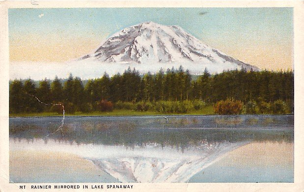 Mt. Rainier Overlooking Lake Spanaway in Washington WA, Curt Teich Vintage Postcard - 2661