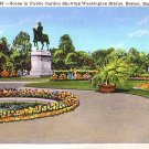 Public Garden Showing Washington Statue in Boston MA Massachusetts Linen Postcard - 2663