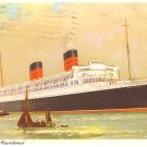 Cunard R.M.S. Mauretania Ocean Liner 1961 Postcard with Air Mail Stamp - 2679
