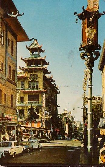 Chinatowns Grant Avenue in San Francisco California CA Chrome Postcard - 2701