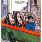 Nuns Praying For Car to Break Down Vintage Comic Postcard - 2706