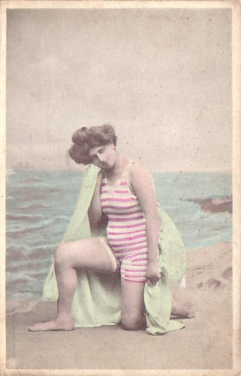 Bathing Beauty in Red White Stripe Swimsuit, Vintage Postcard - 2742