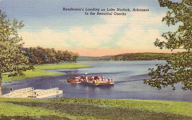 Henderson's Landing on Lake Norfork, Arkansas AR 1948 Curt Teich Linen Postcard - 2749