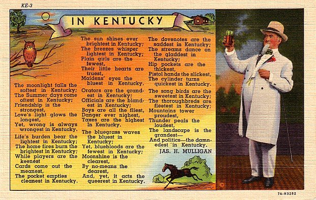 Kentucky Colonel Raising a Toast with Verse 1937 Curt Teich Linen Postcard - 2759