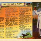 Kentucky Colonel Raising a Toast with Verse 1937 Curt Teich Linen Postcard - 2759