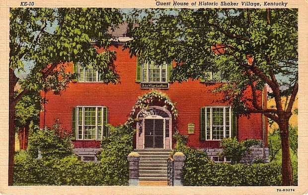Guest House in the Historic Shaker Village of Kentucky KY, 1937 Curt Teich Linen Postcard - 2761