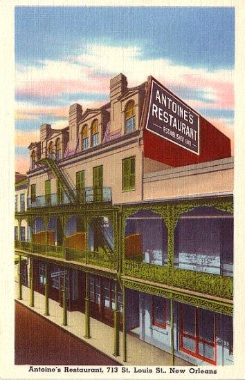 Antoine's Restaurant in New Orleans Louisiana LA, Linen Postcard - 2780