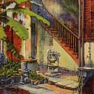 Courtyard of Governor Claiborne in New Orleans Louisiana LA, 1937 Curt Teich Linen Postcard - 2792