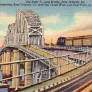 Huey P Long Bridge in New Orleans Louisiana LA, 1939 Curt Teich Linen Postcard - 2803
