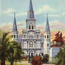 St. Louis Cathedral in New Orleans Louisiana LA, French Quarter 1939 Curt Teich Postcard - 2806