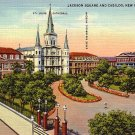 Jackson Square and Cabildo New Orleans Louisiana LA, 1937 Curt Teich Postcard - 2811