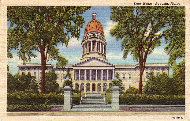 State House in Augusta Maine ME, 1940 Curt Teich Linen Postcard - 2819
