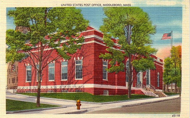 United States Post Office in Middleboro Massachusetts MA, Linen Postcard - 2834