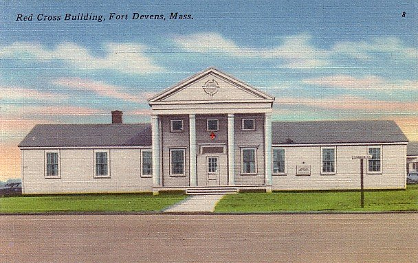 Red Cross Building in Fort Devens Massachusetts MA, Linen Postcard - 2835