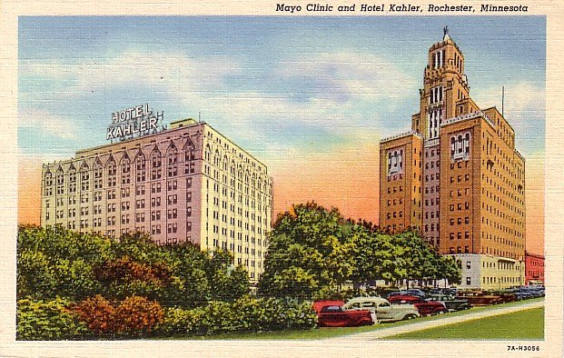 Mayo Clinic and Hotel Kahler in Rochester Minnesota MN, 1937 Curt Teich Linen Postcard - 2854
