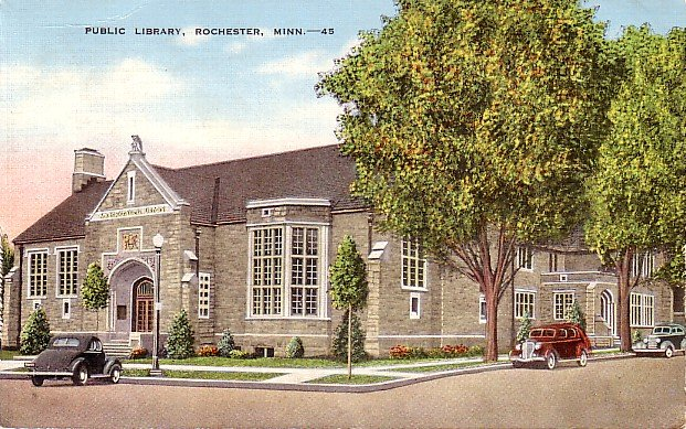 Public Library in Rochester Minnesota MN, Mid Century Linen Postcard - 2859