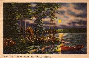 Greetings from Taylors Falls Minnesota MN, Mid Century Linen Postcard - 2860