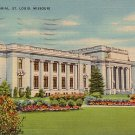 Jefferson Memorial at St. Louis Missouri MO, Mid Century Linen Postcard - 2865