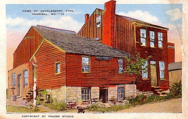 Home of Huckleberry Finn in Hannibal Missouri MO, Linen Postcard - 2866