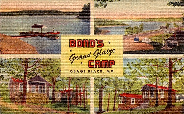 Bond's Grand Glaize Camp at Osage Beach Missouri MO, MWM Linen Postcard - 2875