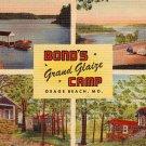 Bond's Grand Glaize Camp at Osage Beach Missouri MO, MWM Linen Postcard - 2875
