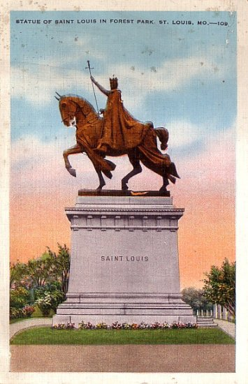 Statue of Saint Louis in Forest Park, St. Louis Missouri MO Linen Postcard - 2877