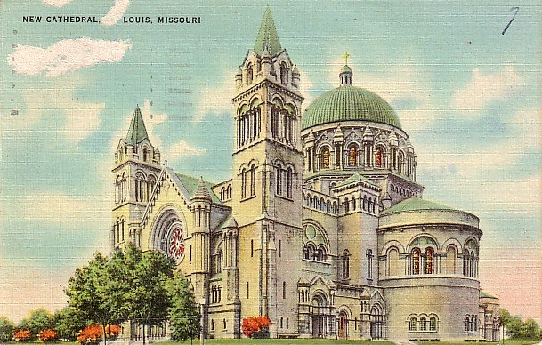 New Cathedral in St. Louis Missouri MO, Linen Postcard - 2878