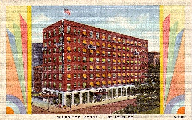 Warwick Hotel in St. Louis Missouri MO, 1937 Curt Teich Deco Graphic Postcard - 2882