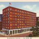 Warwick Hotel in St. Louis Missouri MO, 1937 Curt Teich Deco Graphic Postcard - 2882