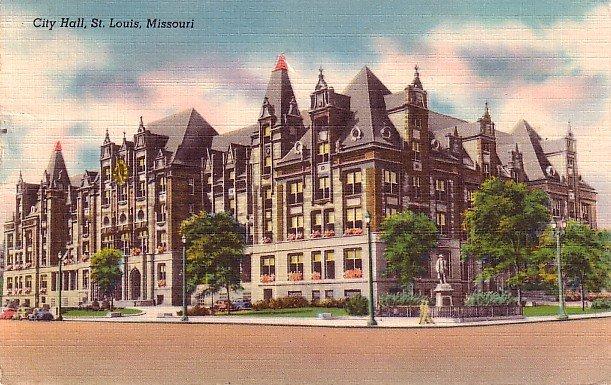 City Hall at St. Louis Missouri MO, Mid Century Linen Postcard - 2886