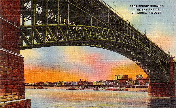 Eads Bridge and St. Louis Missouri MO Skyline, Mid Century Linen Postcard - 2888
