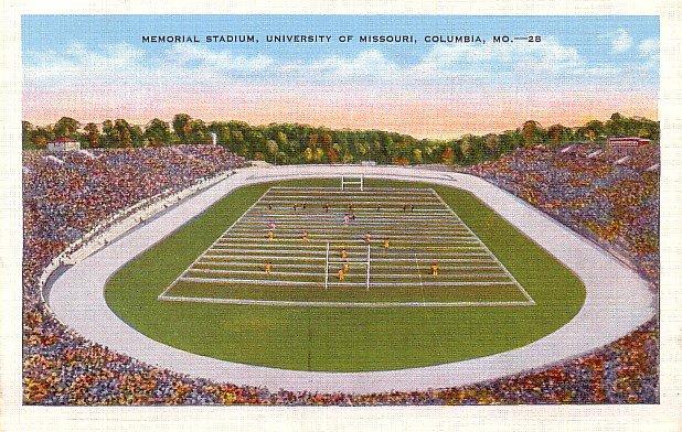Memorial Stadium at the University of Missouri in Columbia Missouri MO, Linen Postcard - 2889