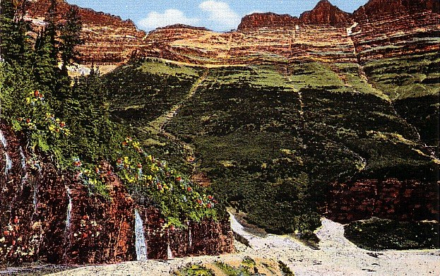 The Garden Wall at Glacier National Park in Montana MT, Linen Postcard - 2896