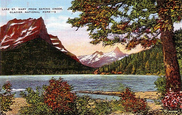 Lake St. Mary from Baring Creek at Glacier National Park in Montana MT, Postcard - 2898