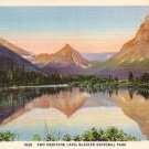 Two Medicine Lake at Glacier National Park in Montana MT, 1935 Curt Teich Postcard - 2900