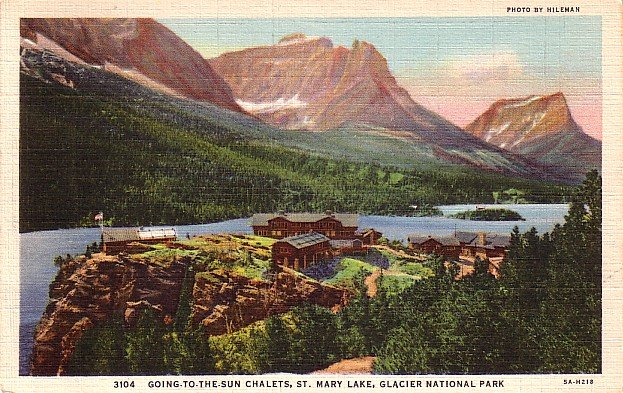 Sun Chalets at St. Mary Lake in the Glacier National Park Montana MT, Curt Teich Postcard - 2901