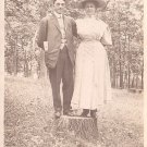 Couple on a Tree Stump, Real Photo Post Card RPPC - 2927