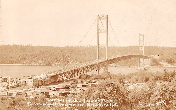 Narrows Bridge in Tacoma Washington WA, Real Photo Post Card RPPC - 2930